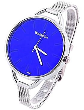 KAIKSO-IN Fashion Classic Frauen der Dame Quarz-Edelstahl-analoge Armbanduhr-Armband (Dunkelblau)