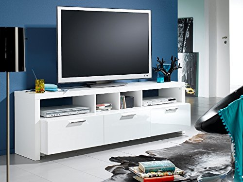 Elegance Mediabank + Schubkästen Wohnwand Lowboard TV-Board Weiß NEU!