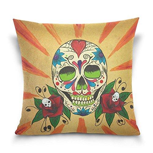 suabo Sugar Skull mit Vogel Muster Baumwolle Samt dekorativer Überwurf-Kissenbezug 40,6x 40,6cm, 50 % Baumwolle, 50 % Polyester, Design 12, 45,7 x 45,7 cm - Zwölf Tote Baumwolle