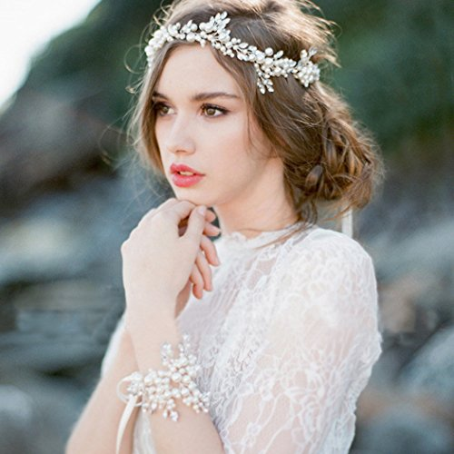 aukmla Hochzeit rhinetones Headbands und Armband Set Silber Perlen Haar Vines Kopf Kette billige Hochzeit Haar-Accessoires für die Braut und Brautjungfer