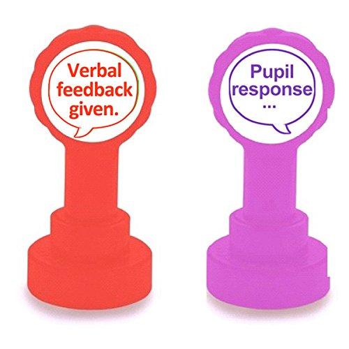 Verbal Feedback Given. (rot Tinte) und Schüler Antwort (Purple Ink) Lehrer selbstfärbend Markieren 2Stempel Set
