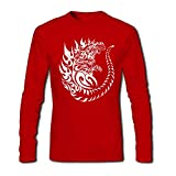 T Shirt - Full Sleeve Round Neck Godzilla Graphics Printed 100% Cotton T Shirt - Angry Godzilla Graphics print T Shirt - Red Full Hand Round Neck Cott