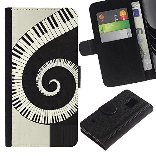 Lead-Star (Music Spiral Piano) Colorful Portafoglio In Pelle Stampa Per Copertura Cassa Caso Case Pelle Per SAMSUNG Galaxy S5 V / i9600 / SM-G900
