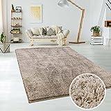 MyShop24h Shaggy Teppich Micro Polyester Wohnzimmer Schlafzimmer Pastel Teppiche Elegant Hochflor Langflor, Größe in cm:120 x 170 cm, Farbe:Taupe