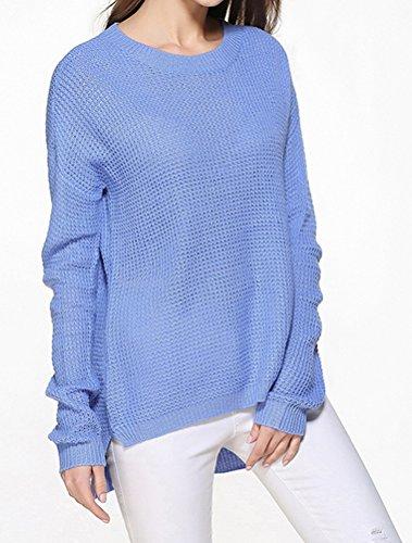 Vogstyle Donna Maglione Girocollo A Maniche Lunghe Casuale Maglioni Oversize Sweatshirt Tops Maglietta Blu