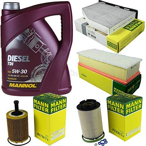 Filter Set Inspektionspaket 5 Liter MANNOL Motoröl Diesel TDI 5W-30 API SN/CF MANN-FILTER Luftfilter Innenraumfilter Ölfilter Kraftstofffilter