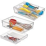 mDesign Schubladen Organizer - zweiteilige Aufbewahrungsbox für die Küchenschublade - verschiebbarer Besteckeinsatz mit vier Fächern für Küchenutensilien - durchsichtig