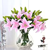 Pink Lily Bush Artificial Flower, NNIUK Lily Real Touch Perfume Lily Flower Bouquet Wedding/Graves/Vases(5Pcs)