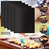 [Black Friday Offer]MVPOWER 5 Packs BBQ Grill Mat, Thick Glass Fiber Cooking Oven Mat, Reusable, Non-Stick and Easy to Clean for Gas, Charcoal, Electric Grill and More,15.75x13inch, Black