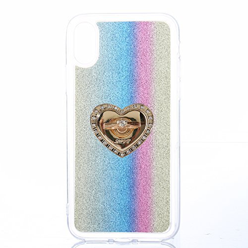EUWLY Cover per iPhone X, Protettiva Silicone Custodia Per iPhone X TPU Copertura Cover Case Lusso Glitter Bling Brillante Trasparente Silicone TPU Cover Custodia con Finger Ring Grip Holder Stand pro Ring Stand,Strisce Verticale, Colore Arcobaleno