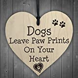 RED OCEAN Dog Leave Paw Prints On Your Heart Wooden Hanging Plaque Dogs Lover Gift Sign -