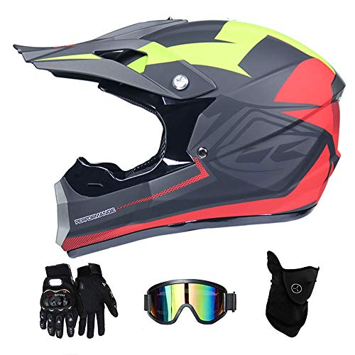 LTongx Erwachsenen Motocross Helm MX Motorrad Helm ATV Roller ATV Helm D.O.T Certified Rockstar Multicolor mit Schutzbrille Handschuhe Maske (S, M, L, XL),S(55~56cm)