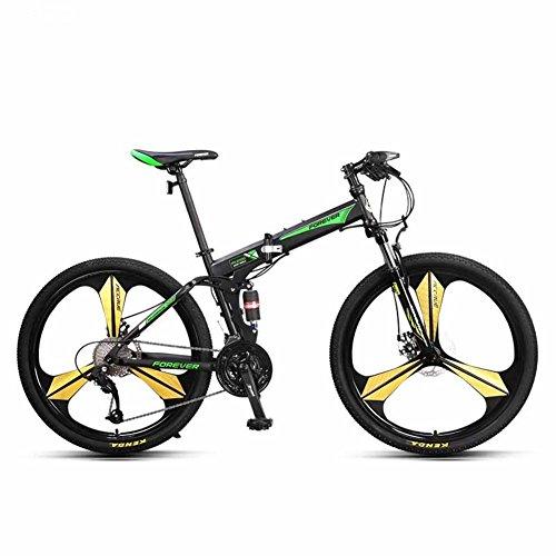 YEARLY Berg klappräder, Erwachsene klappräder Off-Road- Doppelter stoßdämpfer Weiche rute 27 Geschwindigkeit Shimano Klappräder-grün 26inch