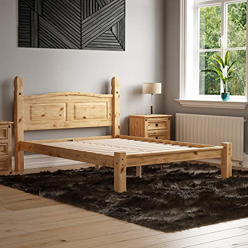 Vida Designs Corona Double Bed, 4 Foot 6, Low Foot End Bed Frame, Solid Pine Wood