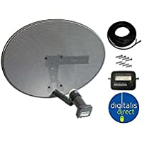 Sky/Freesat HDR Satellite Dish DIY Self Installation Kit,Latest Dish with Quad LNB,15m Twin Cable all necessary Brackets,Bolts and SATELLITE FINDER