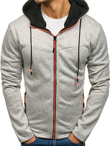 BOLF Kapuzenpullover Sweatshirt Hoodie Kapuze Pullover mit Reißverschluss Mix 1A1 Grau_DD75
