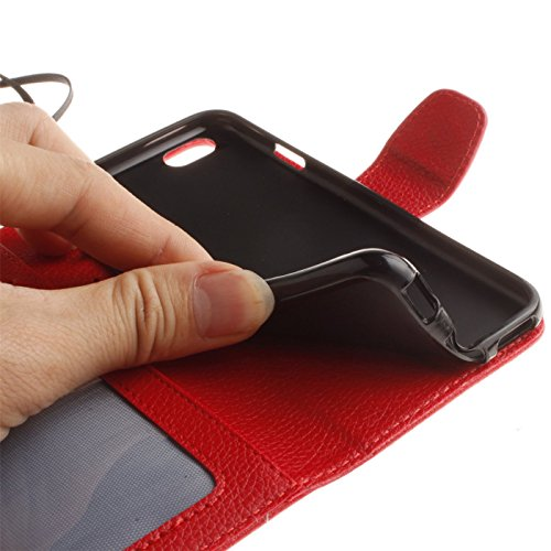 Bookstyle Brieftasche Ledertasche für Apple iPhone 6/6S 4.7 zoll - Aohro Premium PU Leder Wallet Flip Case Cover Handytasche Etui Tasche mit Kartenfach + Handschlaufe + Staub Stecker + Stift - Grün Rot