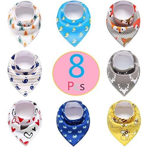Pachock 8pcs Baberos Bandana Baberos Bebe Baberos Impermeables Bebe para Bebés y Niños, 100% Algodón Orgánico