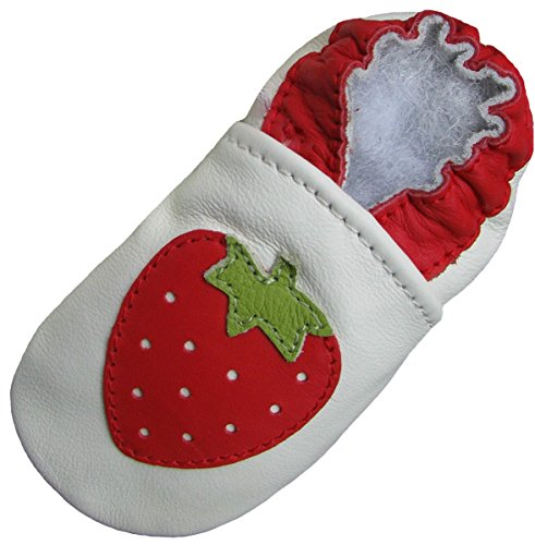 Carozoo Fraise Blanc (Strawberry white), Chaussures Bébé Semelle Souple Fille Pantoufle