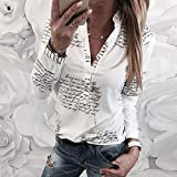 WWricotta Women V Neck Letters Printing Button Long Sleeve T-Shirt Tops Blouse XL