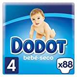 Dodot Pañales con Canales de Aire Bebé-Seco, Talla 4, para Bebes de 9-14 kg- 88 Pañales