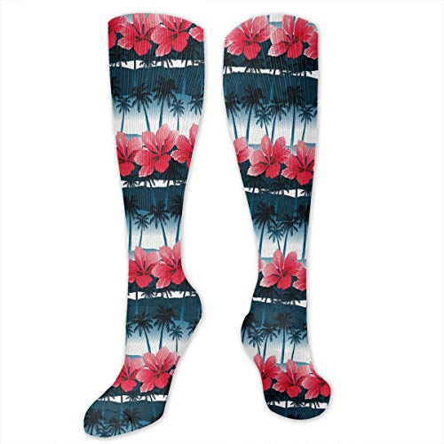 VVIANS Personalized Compression Socks,Tropical Hibiscus Flowers With Palm Tree Silhouettes Pattern,Best Medical,for Running,Hiking,Varicose Veins,Circulation & Recovery