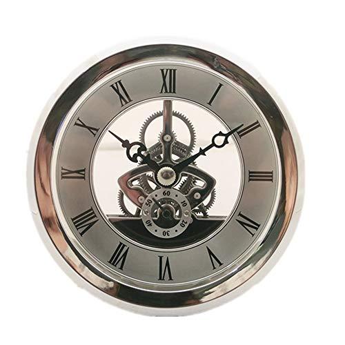 DEEWISH Uhrwerk,Transparent Skeleton Clock Inserts Einbau-Uhr Quartz Uhrwerk Tischuhr Hochwertiger Europäischer Stil Clock DIY (103 * 103 * 48mm, Silber)