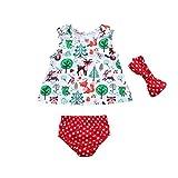 Culater® 2018 estate neonate che coprono insieme bambini T-shirt Tops+ Wave point pantaloncini vestito 3 pz bambini floral stampa vestiti insieme del vestito (Bianca, 0-3 mesi)