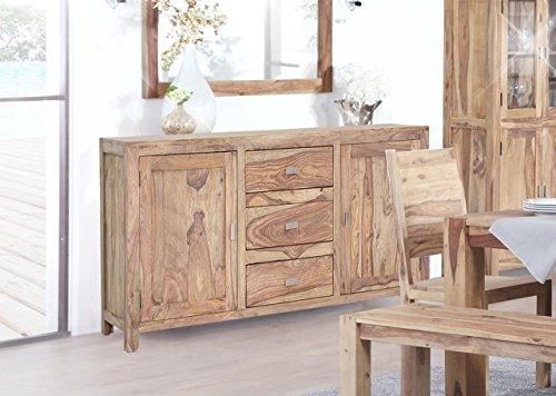 Sideboard in Sheesham massiv, natur gebeizt und lackiert, 2 Holztüren mit je 1 Konstruktionsboden, 3 Schubladen, Maße: B/H/T ca. 175/84/45 cm