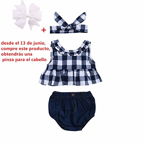 Fossen Ropa Bebe Niña Verano Recien Nacido Bebé Tops de cuadros Y Caqueros Corto con Banda de pelo (12 meses, Azul oscuro)