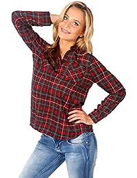 KRISP® Femmes Chemise à Carreaux Ecossais Vintage Casual Loose Fit