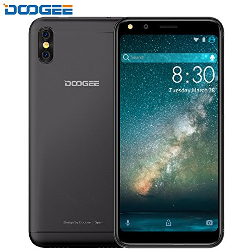 "Dual SIM Handys, DOOGEE X53 Smartphone Ohne Vertrag, 5.3 ""HD+ 18:9 Verhältnis Android 7.0 - MT6580M - 16 GB ROM - Dual 5.0MP Kameras Smartphone - 2200mAh - Bluetooth - GPS - Schwarz"