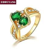 ZUXIANWANG La Mujer Anillo Doble Anillo Verde Piedra Zirconia cúbico el Regalo de Bodas de Oro Bisutería,7