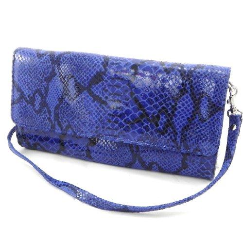Ledertasche tasche 'Frandi'blau (python-muster)(2 falten) (Mode Neueste 2012)