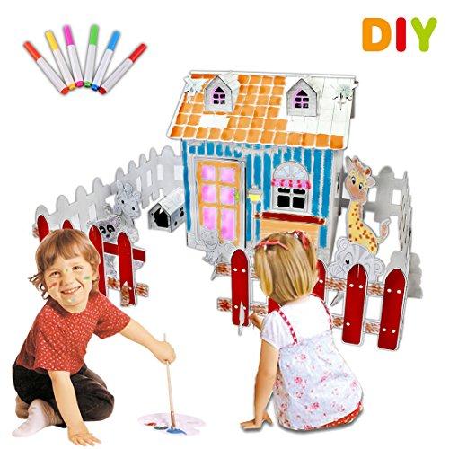 deAO Doodle Spielhaus DIY Zeichnen Kunst Bastelset für Kinder Pappe Spielhaus zum Bemalen und Dekorieren (Bauernhof)