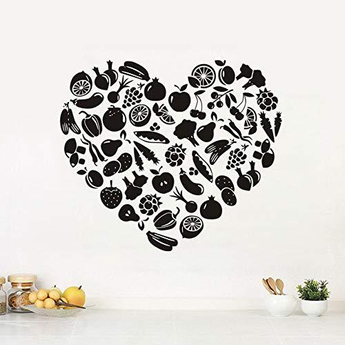 Wandaufkleber, Küchenaccessoires Herzförmiges Obst und Gemüse Kinderzimmer Vinyl Wandtattoo Abnehmbare 58x67cm
