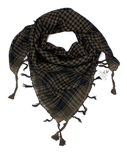 CRAFTSHUB Men's Scarf (Arafatkhakiandblackscarf_Khaki & Black_Free Size)