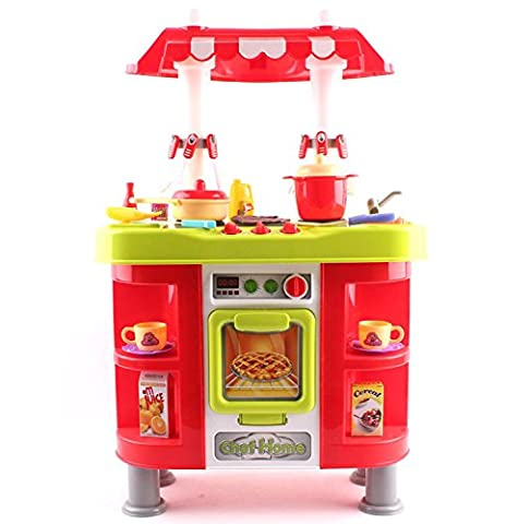 deAO Toddler Kitchen Playset With 25 Accessories Role Playing Game