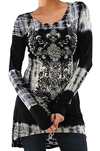 Donna Camicetta Maglie a Manica Lunga Pullover Top Mini Vestiti Casual Autunno Stampato Felpa da T Shirt Grigio chiaro