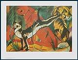 Bild mit Rahmen Franz Marc - Drei Katzen - Holz blau, 84.0 x 65.0cm - Premiumqualität - , Expressionismus, Katzen, spielende Katzen, Katzenwäsche, klassische Moderne, Wohnzimmer.. - MADE IN GERMANY - ART-GALERIE-SHOPde