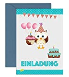 the lazy panda card company 15 Einladungskarten Kindergeburtstag: Eule Geburtstagseinladungen Einladungen Geburtstag Kinder Mädchen (Mit recycelten Blauen Umschlägen)