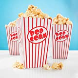 PartyMarty 20x Popcorn Boxen rot-weiß gestreift - 15 x 10 cm - Popcorn Box für Kinoabend, Hollywood Party & Co GmbH®