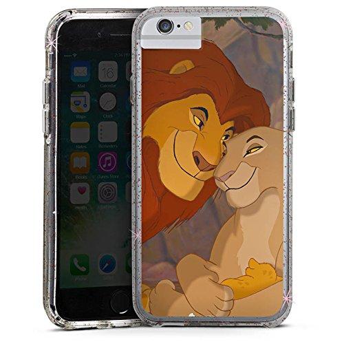 Apple iPhone 6s Plus Bumper Hülle Bumper Case Glitzer Hülle Disney Lion King Koenig Der Loewen Bumper Case Glitzer rose gold