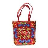 Bolso indio algodón elefante realeza paisley rojo bordado espejitos bolsa accesorio