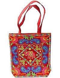 54d46903bf Borsa indiana di cotone colorato ricamato elefante reale, paisley e  specchietti accessori moda