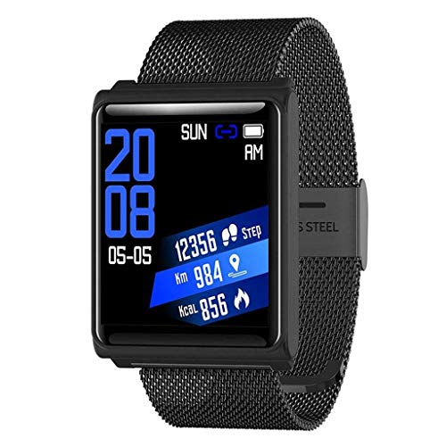 Lg-jz Smart Watch Sports Podómetro Reloj Impermeable Bluetooth Cámara Sleep Monitor de Red con Pulsera Inteligente Pulsera Inteligente (Tamaño : Negro)