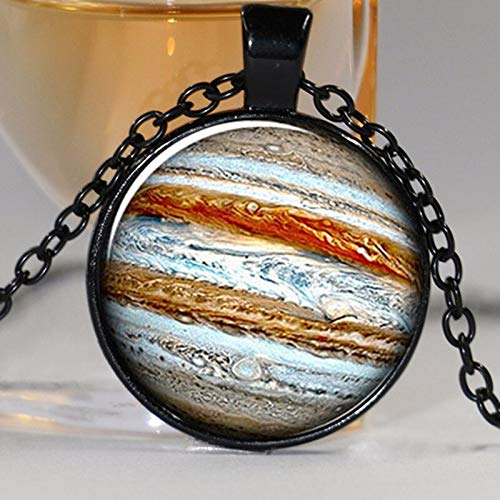1 Stk Jupiter Halskette Planet Anhänger, Kristall Schmuck Galaxy Universum Wissenschaft Kuppel Cabochon (Jupiter Kostüm Planet)