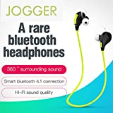 #9: Jogger® Original QY7 Professional Bluetooth 4.1 Wireless Stereo Sport Headphones Headset Running Hiking Exercise Sweat-Proof Jogger Hi-Fi Sound with Extra Bass Hands-Free Calling-Parrot Green