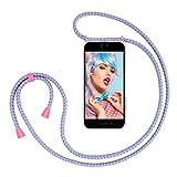 ZhinkArts Handykette kompatibel mit Apple iPhone 6 / 6S - Smartphone Necklace Hülle mit Band - Schnur mit Case zum umhängen in Bubble Gum