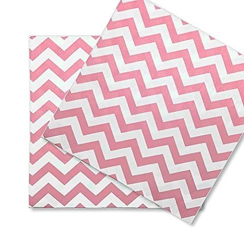 60x Papierservietten Servietten Wave EinsSein® 33x33cm weiss-rosa Einwegservietten Hochzeitsservietten Partyservietten